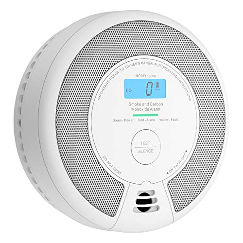 X-Sense 10-Year Battery Combination Smoke & Carbon Monoxide Alarm Detector with LCD Display, Auto Check & Silence Button, SC07