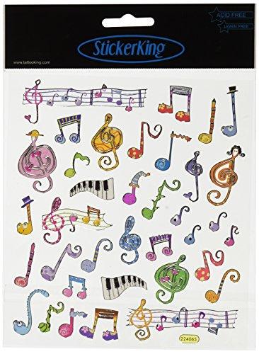 Tattoo King SK129MC-475 Multicolored Sticker, Music Notes