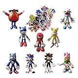 Sonic Sticker Figura 9 unids/lote 3.5 pulgadas Sonic Cake Toppers Figuras Sonic the erizo Figuras só...