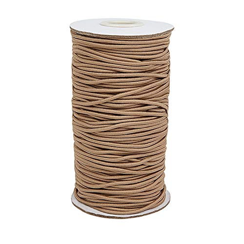 PH PandaHall 75Yards Elastic Cord, 2mm Stretch Round String Beading Cord Braided Elastic Cord for DIY Jewelry Making Sewing and Crafting, Tan