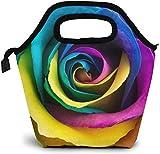 Bolsa de almuerzo reutilizable, hermosa bolsa de almuerzo de planta, oficina de picnic, al aire libre, térmica, para llevar, gourmet, lonchera, rosas multicolores, recipiente para el almuerzo, recipi