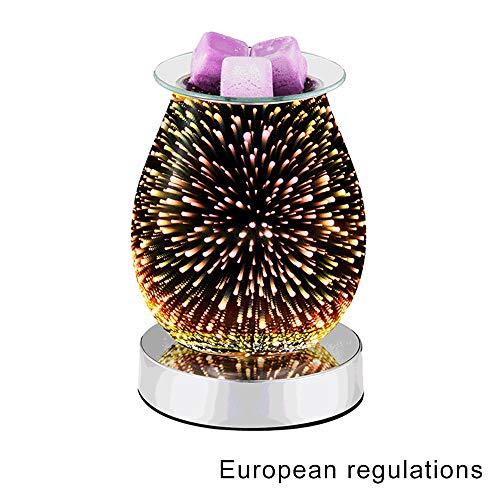 LOREMYI Aromalicht, 3D-Nachtlicht, Berühren Aroma-Licht, elektrisch, Duftwachs, Duftlampe, Feuerwerkseffekt Glas, 33 W