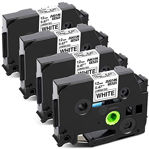 AKen Compatible Label Tape Replacement for Brother P Touch TZe-231 TZ-231 TZe231 Laminated 12mm 0.47 Inch Label Tapes for PT1280 PTD210 PT7500 PT2030 PTH110 Label Maker Black on White 4-Pack