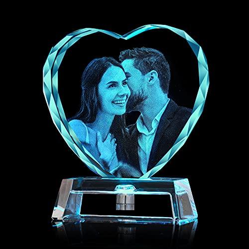 Aolun 3D Kristall Foto mit Gravur,Personalisiert 3D Kristall Bilderrahmen LED Basis für Valentinstag, Muttertag, Jubiläum, Jäten, Geburtstag enthalten