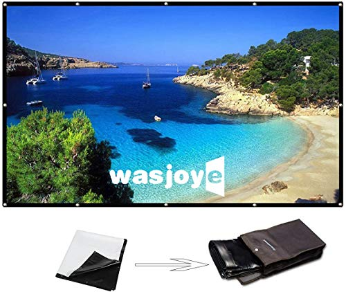 120 Inch 16:9 Portable Projector Screen High Contrast Collapsible PVC HD 4K Design Hanging Hole Grommets Front Projection Home Indoor Outdoor Movie Match Party