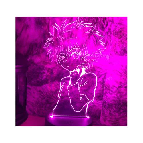 Lámpara De Noche De Ilusión 3D Lámpara De Escritorio De Luz Nocturna De Anime Killua Figura Hunter X Hunter con Interruptor Táctil para Niños Regalos Decoración De Dormitorio Lámparas De Mesa
