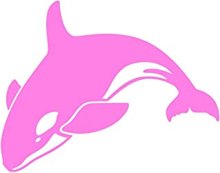 Orca Killer Whale [Pick Any Color] Vinyl Transfer Sticker Decal for Laptop/Car/Truck/Window/Bumper (3in x 2.4in (Laptop Size), Pink)