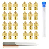 Aokin MK8 Nozzle for 3D Printer, 24Pcs M6 Brass Extruder Head Hotend Nozzles 0.2mm, 0.3mm, 0.4mm, 0.5mm, 0.6mm, 0.8mm, 1.0mm & 5pcs Cleaning Needles fit 1.75mm Filament Makerbot Creality CR-10 ANET A8