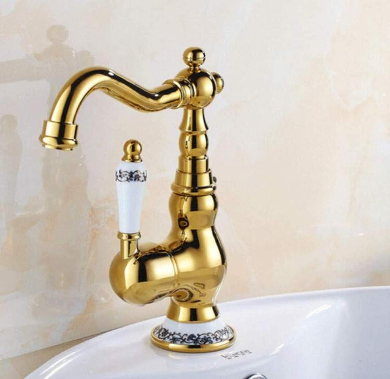 All Copper Faucet gold All-Copper Basin Faucet Can Be redated Antique gold-Plated Hot and Cold