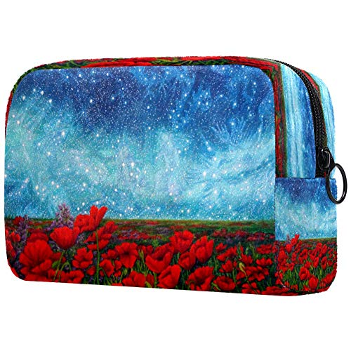Poppies Flowers Painitng Cosmetic Bag Makeup Pouch Case Organizer for Travel Portable Toiletry Purse for Girls, Women