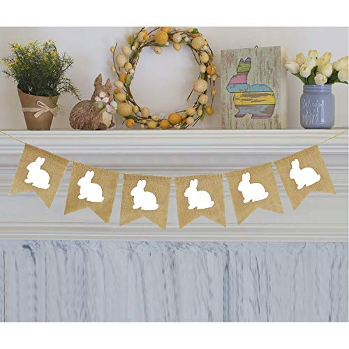 Partyprops Rabbit Burlap Garland | Bunny Burlap Garland | Rustic Easter Decorations | White Rabbits Banner