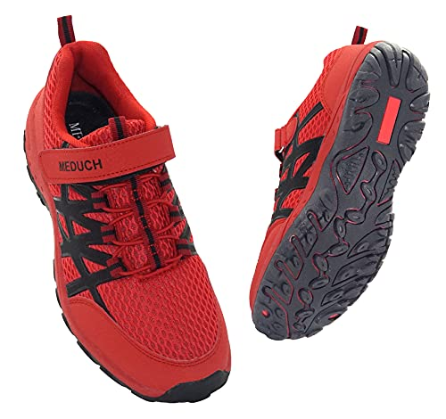 MEDUCH Boys Girls Shoes Kids Hiking Shoe Breathable Athletic Running Shoes for School Trail Walking Red/Black