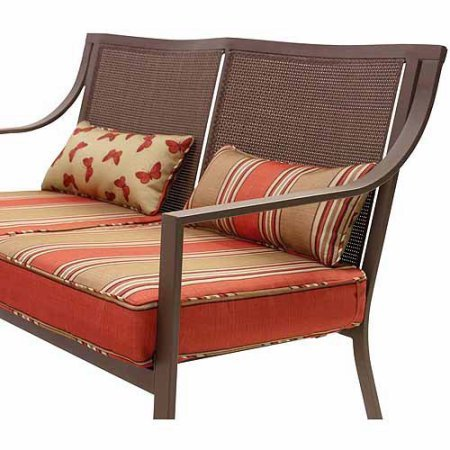 Best Care LLC Square Patio Loveseat, Included Cushions and Pillows, Steel Frame, Orange Striped, Ideal for Garden, Entryway, Hallway, Bench, Indoor, Outdoor Furniture, Bonus E-Book