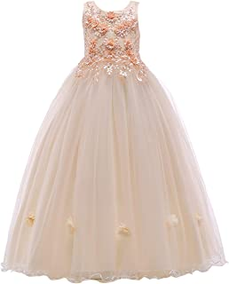 Little Big Girl Flower Tulle Dress Princess Pageant Birthday Party Wedding Formal Floor Long Dance Evening Maxi Gown
