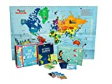 World Box Geography Game with World Map for Kids, Play Passport, Travel Scrapbook, Country Trump Cards Educational STEM Toy for Age 5-12 Years
