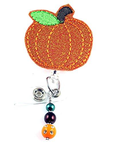 Vinyl Glitter Pumpkin- Nurse Badge Reels - Retractable ID Badge Holder - Nurse Badge - Badge Clip - Badge Reels - Pediatric - RN - Name Badge Holder