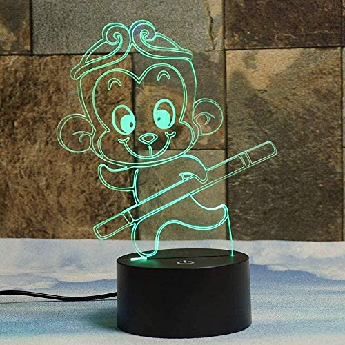 Boutiquespace 3D Illusion LED Lamp for Kids Creative Monkey Night Light USB Touch Switch Decor Desk Optical Lamps 7 Color Changing Lamp Home Love Brithday Children Kids Decor Toy Gift