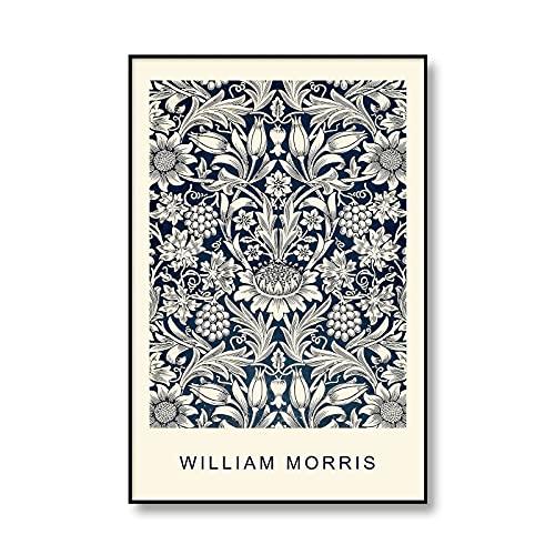 William Morris Vintage Flower Painting Museum Exposición Carteles e impresiones Imágenes artísticas de pared Pinturas en lienzo sin marco A3 50x75cm