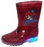 Marvel Spiderman Bottes en Caoutchouc Lumineuses pour Enfant - Rouge - Red, 30 EU