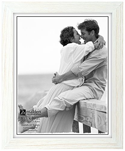Malden International Designs Linear Rustic Wood Picture Frame, 8x10, Rough White