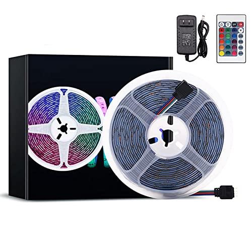 Tira de luces LED que cambian de color RGB 5050, tira de luces inteligentes de cuerda que cambian de color de 16.4 pies / 32.8 pies con fuente de alimentación y control remoto de 24 teclas-Tabla rasa_