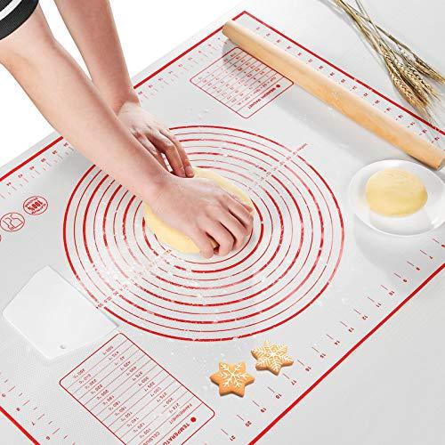 AJOXEL Tappetino da Forno in Silicone, 70x 50cm Grande Stuoia di Rolling della Antiscivolo Non Bastone Pasta di Silicone con Misure Tarocco per Torta Pasticceria Pizza, BPA Free