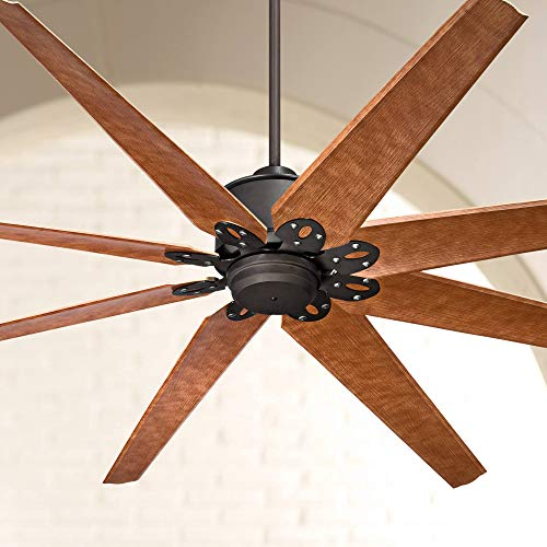 "72"" Predator Rustic Industrial Farmhouse Large Outdoor Ceiling Fan with Remote Control English Bronze Cherry Damp Rated for Patio Exterior House Porch Gazebo Garage Barn Roof - Casa Vieja"