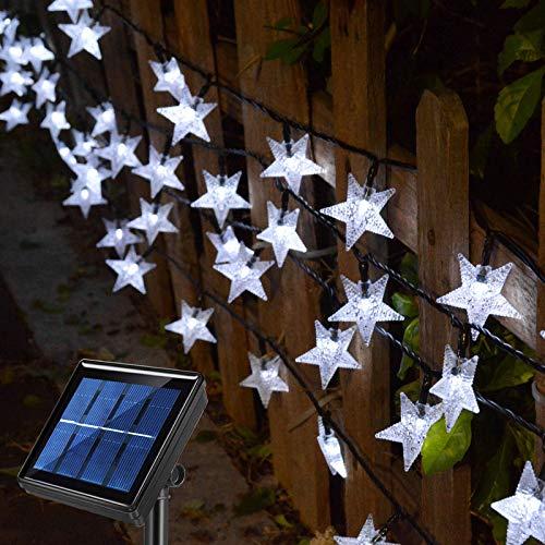 Homeleo Outdoor Solar Star String Lights, 50FT 120LED Solar Powered Twinkle Fairy Lights Waterproof for Garden, Fence, Umbrella, Canopy, Gazebo, Pergola, Balcony, Landscape, Christmas Decor, White