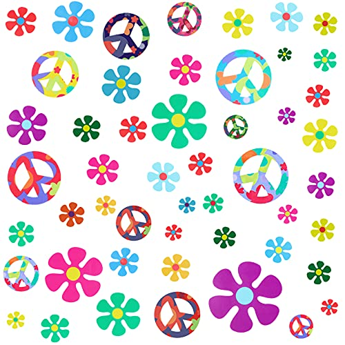 75 Pieces 60's Hippie Theme Party Stickers Retro Flower Stickers 60s Hippie Theme Party Retro Sun Flower Car Stickers Flowers Peace Sign Decals Colorful Hippie Decals for Laptops Skateboards Luggage