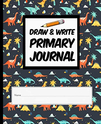 Draw & Write Primary Journal: Grade Level K-2 Draw and Write, Primary Tablet Back To School Journal - 100 Sheets, 7.5 in x 9.25 in - Dinosaur (4)