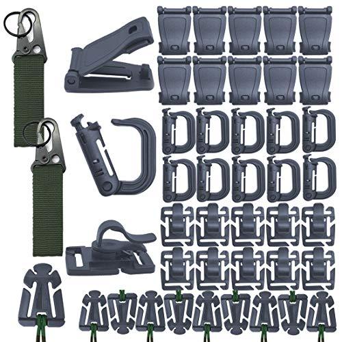42 STÜCKE Clip Geschwindigkeit Taktische Molle Strap Attachments Für Rucksack Taktische Weste Molle Keychain D-ring Verriegelungsrohr Wasser Clip Web Dominator Schnalle Mit Elastische Kette (Grau)