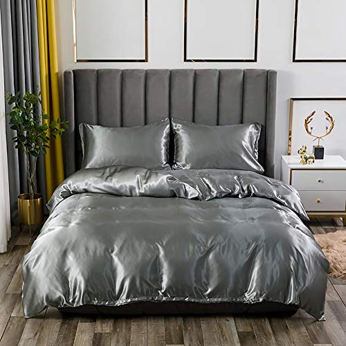 AShanlan Bettwäsche Set Satin 135x200 Grau Uni Einfarbig Deckenbezug 100% Glatt Angenehm Glanzsatin Polyester - 1 Bettbezug 135 x 200 + 1 Kissenbezug 80 x 80 cm