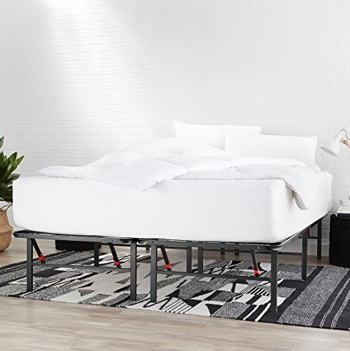 AmazonBasics Foldable Metal Platform Bed Frame 14 Inch Height for Under-Bed Storage - Tools-free Assembly, No Box Spring Needed - King