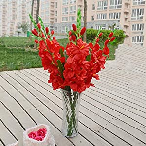 Floral DecorArtificial Gladiolus Flowers and Plants 13″ for Christmas Home Ornaments Red