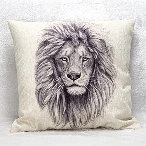 Funda de cojín de león, funda de cojín, supersuave, funda de cojín decorativa, 45 x 45 cm, algodón y lino, para sofá, dormitorio, decoración de cama