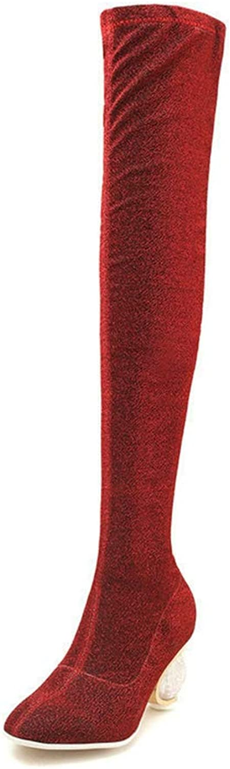 T-JULY Fashion Over The Knee Boots Comfortable Slip on Bling Thigh Party Boots
