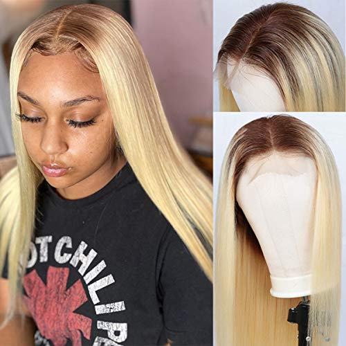 """Glueless Ombre Blonde Human Hair Wigs Long 22"""" for Women Brazilian Straight 4x4 Lace Closure Wigs Natural Hairline Free Part 2 Tone 4/613 Lace Wigs"""