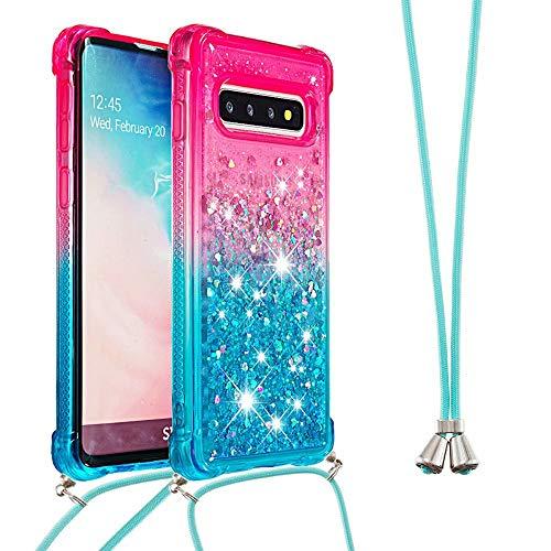 Miagon Galaxy S10+ Glitzer Flüssig Halskette Hülle,Flüssigkeit Treibsand Kordel zum Umhängen Necklace Crossbody Cover mit Band Schnur Case für Samsung Galaxy S10+