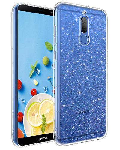 BENTOBEN Huawei Mate 10 Lite Hülle Handyhülle Glitzer, Huawei Mate 10 Lite Hülle Slim Anti Gelb Silikon Bumper Cover Ultra dünn Hülle für Huawei Mate 10 Lite Bling Transparent