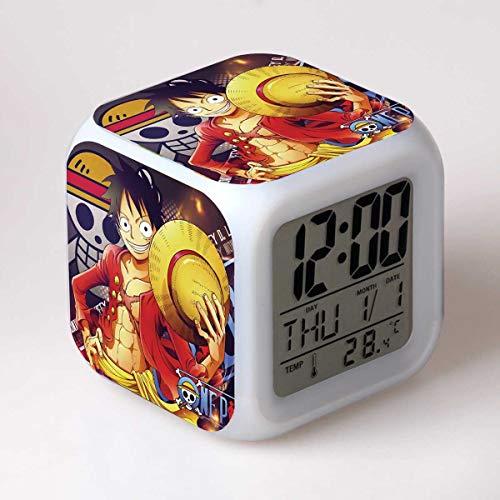 FDGFDG Reloj Despertador LED de una Pieza Luffy Reloj de Mesa Digital de Dibujos Animados Lindo para niños con variaciones Coloridas Decoración Dormitorio para niños Escritorio Mini Reloj