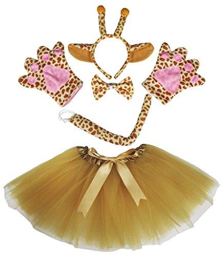 petitebelle Girafe Bandeau Nœud Papillon et Queue pour déguisement Gants marron Tutu Set pour Lady - marron - Taille unique
