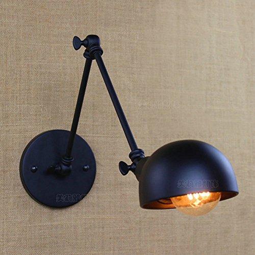 Crayom Retro negro ajustable de metal de pared de iluminación de estilo industrial de hierro forjado brazo largo lámpara de pared Swing arm montaje de pared apliques de luz E27