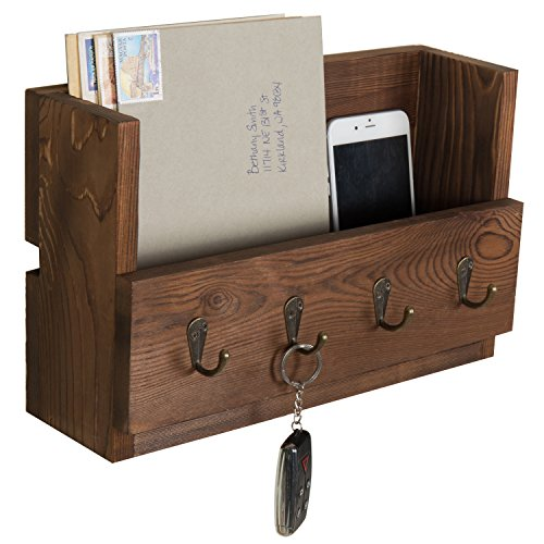 MyGift 4-Hook Rustic Wood Wall-Mounted Key & Letter Organizer Rack