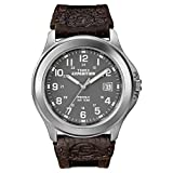 Timex T40091JT Watch with Nylon and Leather Strap - Silver/Brown