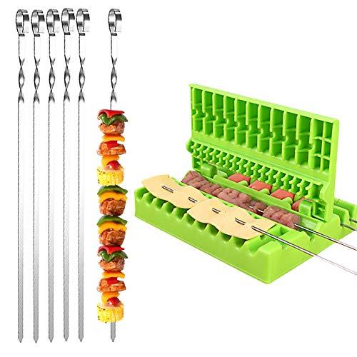 Elinala Pinchos Barbacoa, Máquina para Pinchos de Carne, 20 Piezas de Metal Plano Reutilizable Kebab y 1 Pieza 3 en 1 Ulti-Function Barbacoa Verduras Carne Brocheta Caja (35 CM)