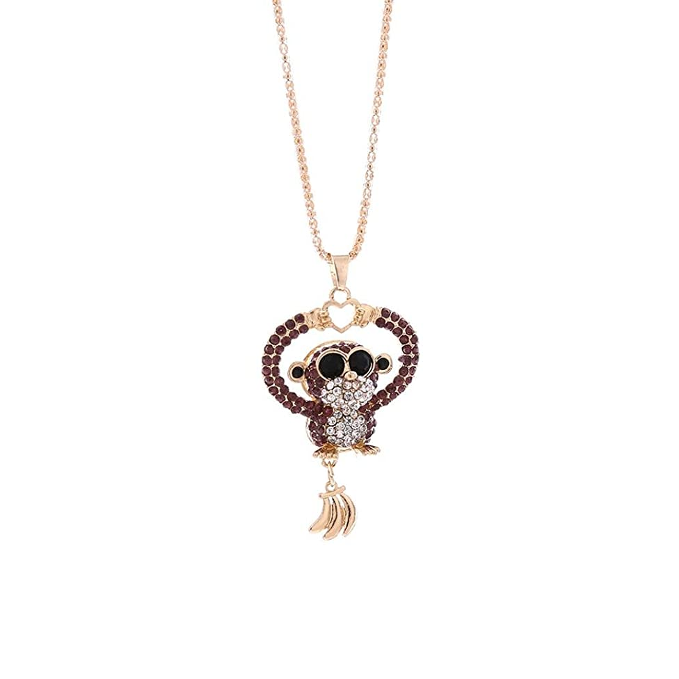 Clearance! Elogoog Fashionable Cute Mini Monkey Crystal Rhinestone Long Pendant Sweater Necklace Jewelry 75cm