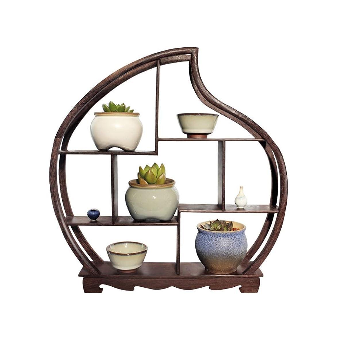 検査官通りアクションLWT 多肉植物の花フレーム木枠新しい中国茶室ディスプレイスタンド無垢材小さな装飾品窓枠棚38×40センチ