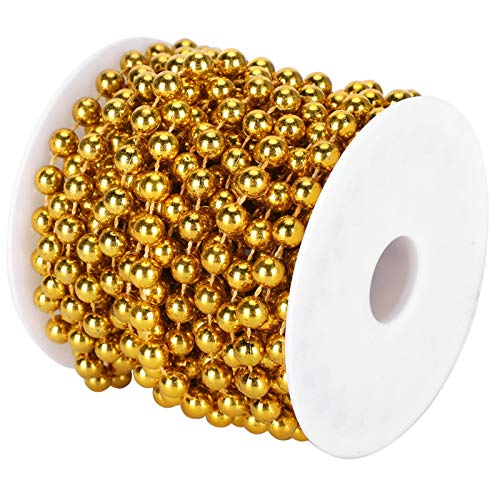 SALUTUYA Plastic Bead Spool Rope Waterproof for Hung on Tablecloths for Decorate the House(Golden)