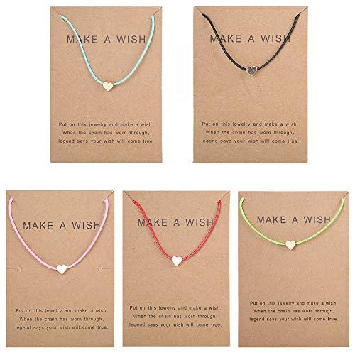 Thunaraz 5Pcs Friendship Bracelet Set with Message Card Make a Wish Adjustable Bracelet Star Heart Handmade Bracelet Simple Fashion Women Jewelry Gifts