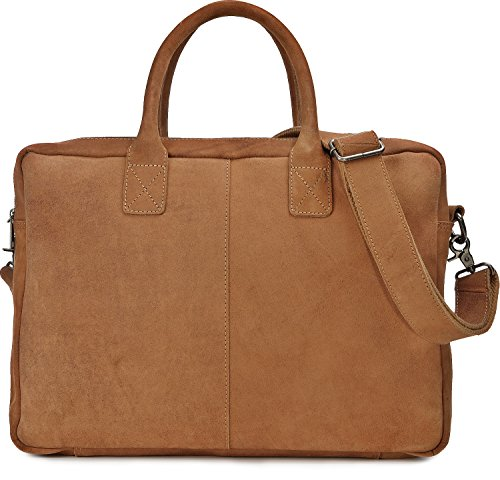URBAN FOREST, Cntmp, Unisex Messengerbags, Ledertasche, Vintage-Optik, Business-Bags, Aktentaschen, Laptoptaschen, Notebooktaschen, Umhängetaschen, DIN-A4, Leder, Cognac, 41x30x12cm (B x H x T)